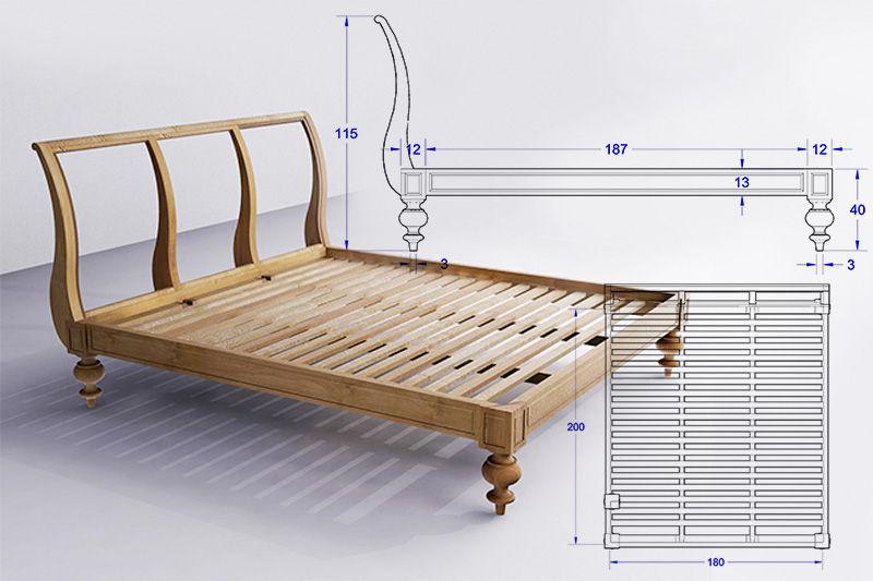 Gambar kerja tempat tidur desain kustom