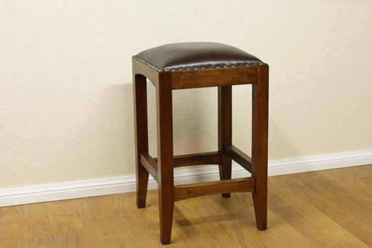 Bar stool minimalis rangka terbuat dari kayu jati perhutani dudukan jok busa dan kulit