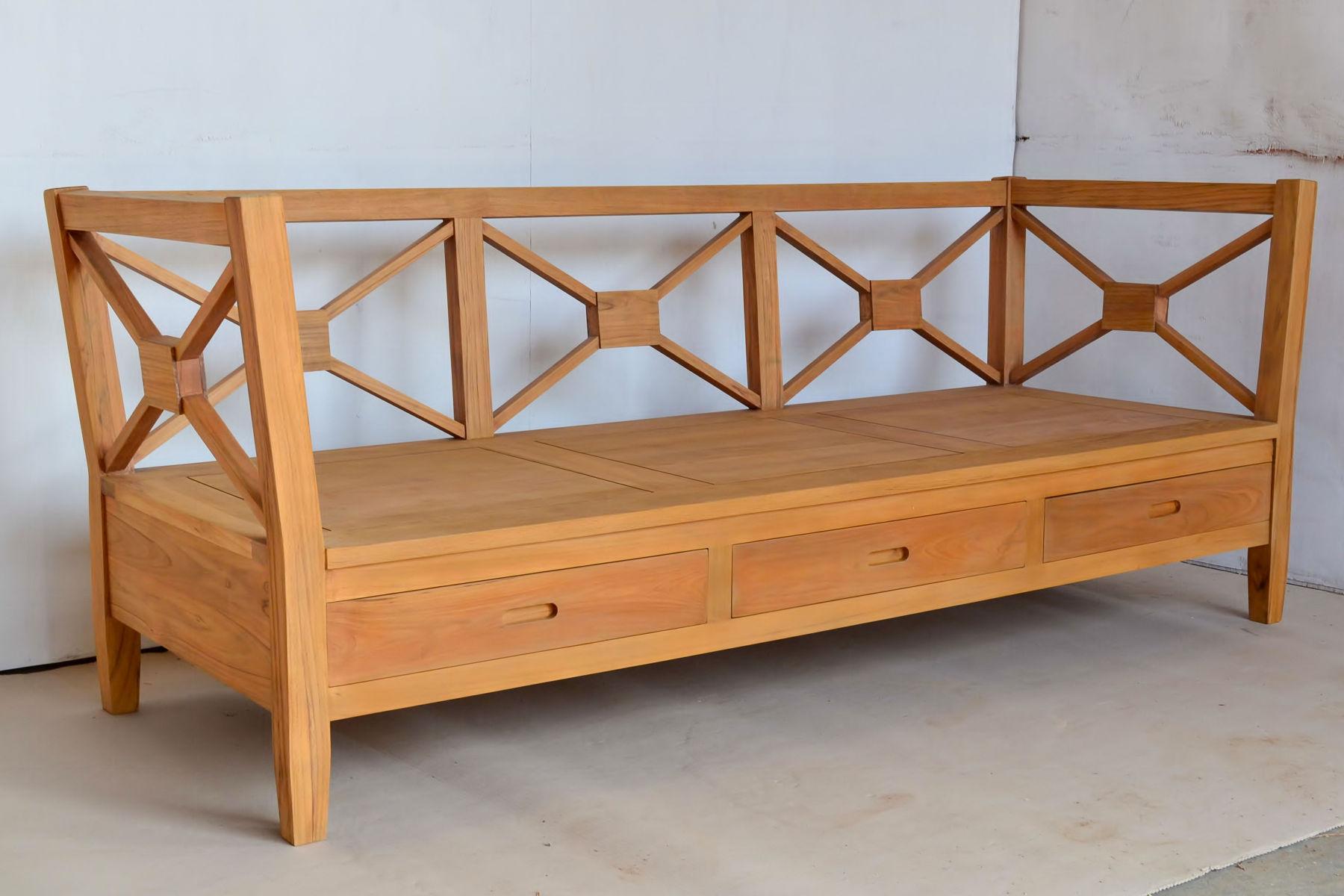 Sofa Minimalis Kayu Jati 3 Laci