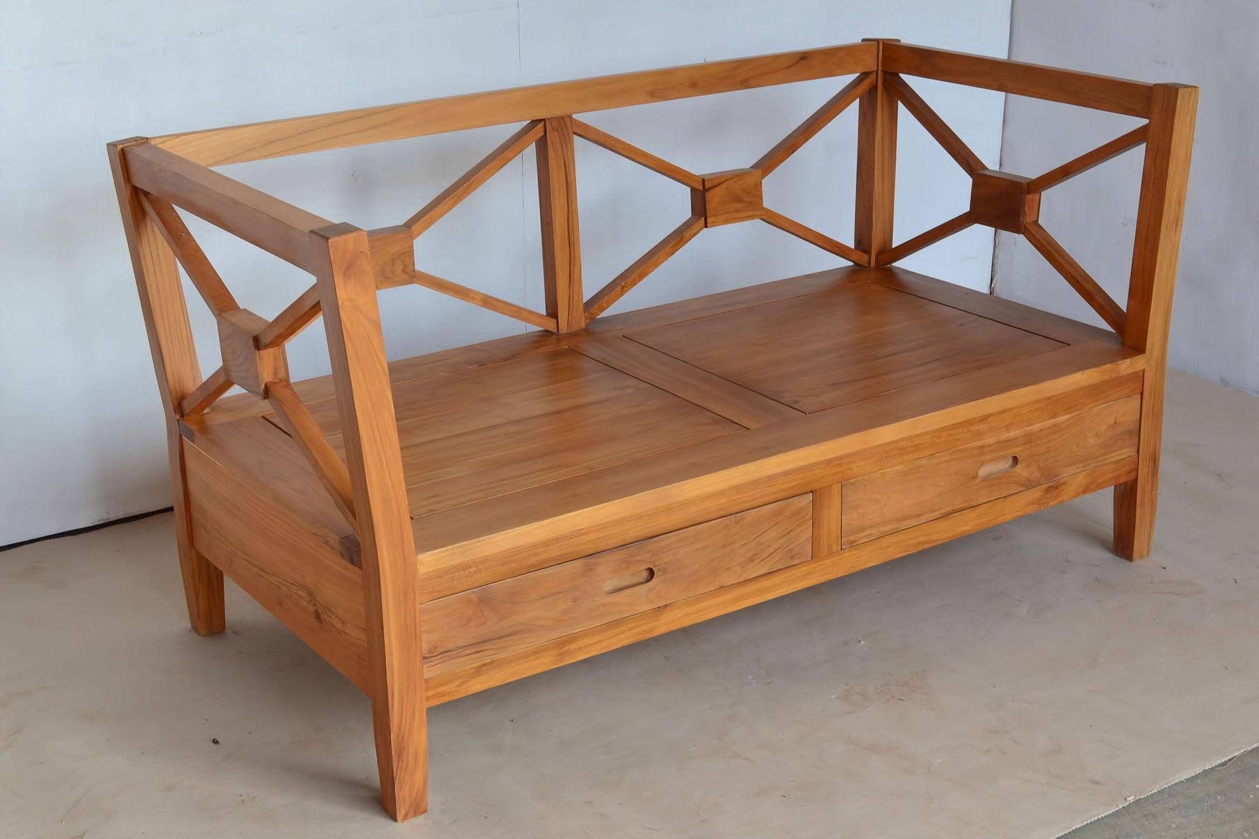 Sofa Minimalis 2 Dudukan Kayu Jati Sandaran Silang