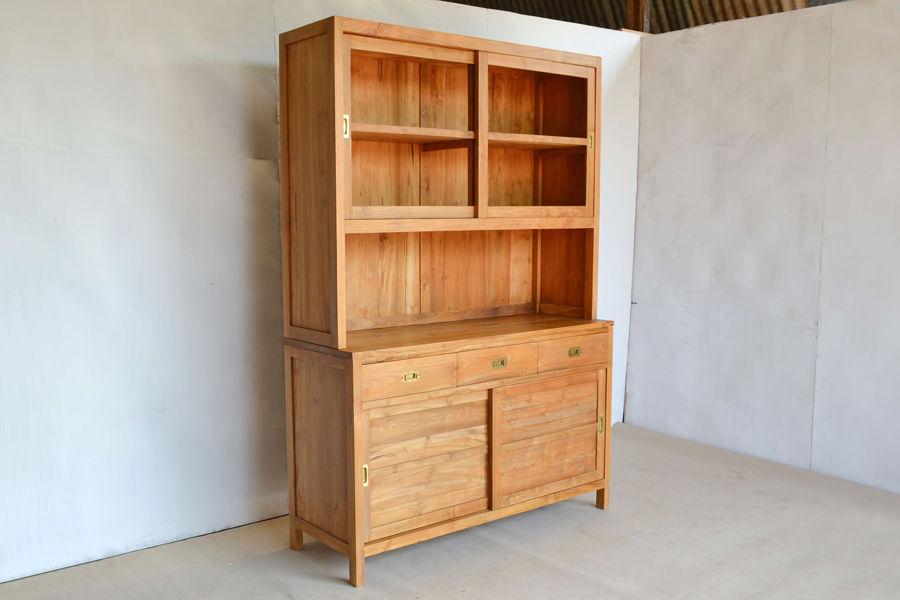 Lemari pakaian minimalis 4 pintu 2 laci kayu jati grade A
