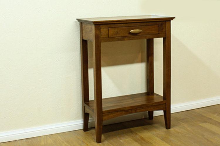 Meja konsol kecil tipis terbuat dari kayu jati Perhutani