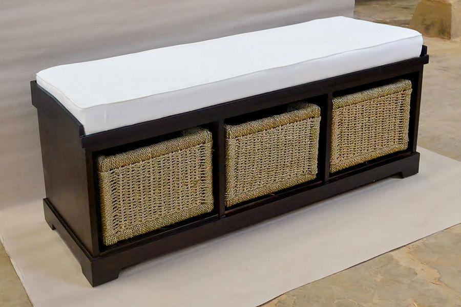 Bangku modern minimalis kayu jati 3 laci anyaman pandan, dilengkapi cushion kain